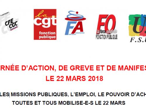 22 mars 2018 : Journée d'action dans la fonction publique